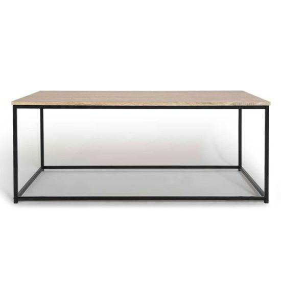 Table Basse Detroit Design Industriel Bois Et Metal Noir