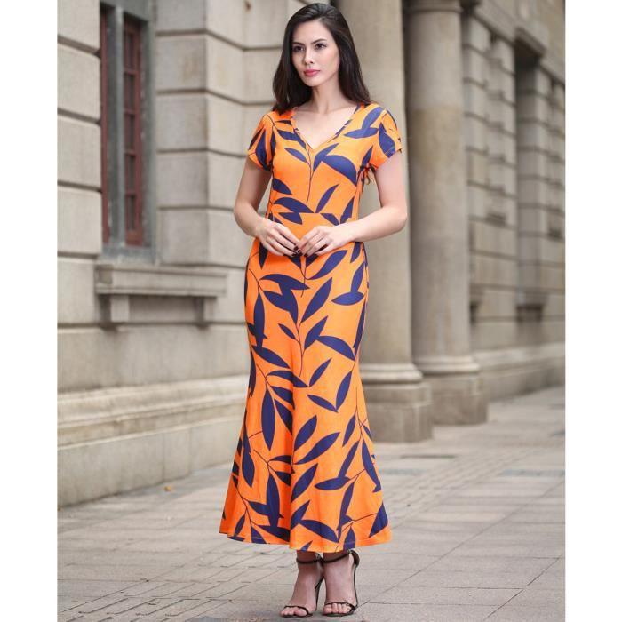 92414e9c39d ... Channy® Femme Robe Longue Maxi en Floral Imprimé en Col V Robe de  Soirée Cocktail