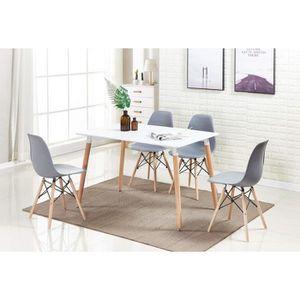 Table a manger verre et bois achat vente pas cher - Table blanche design salle manger ...