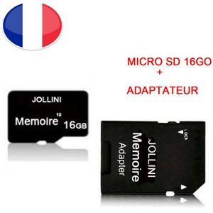 CARTE MÉMOIRE Carte mémoire Micro SD 16 Go classe 10 + adaptateu