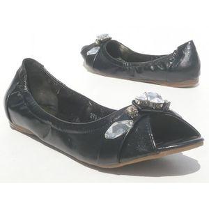 ESCARPIN femmes chaussures ballerine Peep Toes strass noir 60a108121a05