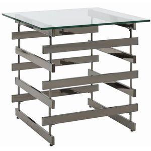 TABLE D'APPOINT Table d'appoint en métal et verre trempé, noir nic