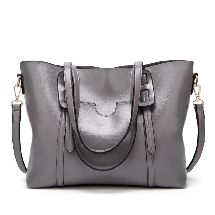85f75e4ceb Sac a main en cuir gris femmes avec poche exterieur - Achat / Vente ...