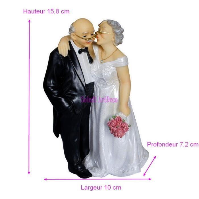 grande figurine couple mari depuis 50 ans anniversaire mariage noces d 39 or 15 8x10x7 2cm avec. Black Bedroom Furniture Sets. Home Design Ideas