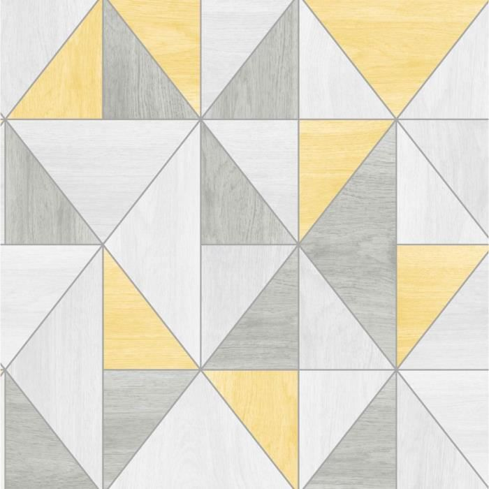 Apex grain de bois géométrique papier peint - jaune et gris - Fine ...