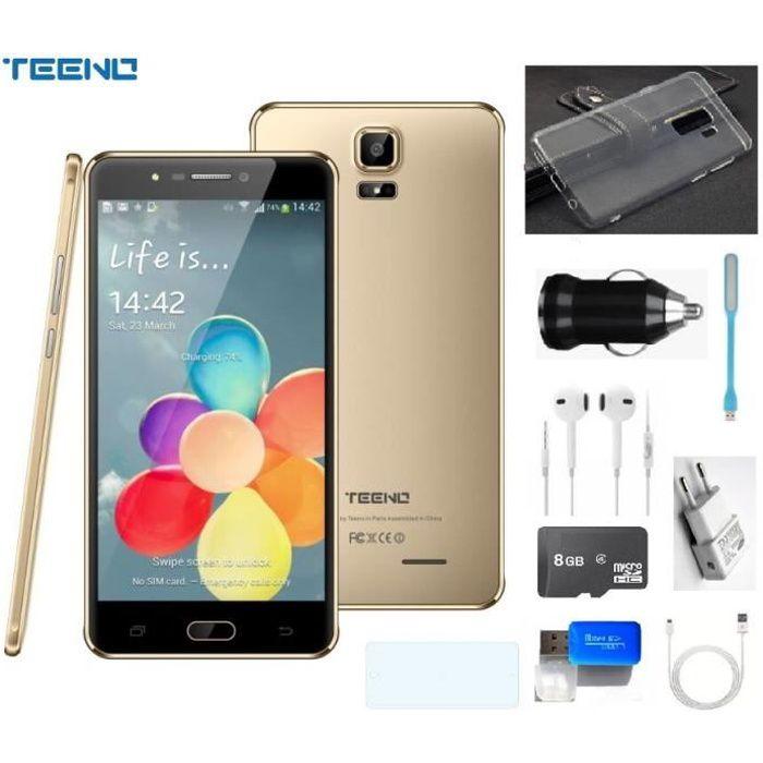 """SMARTPHONE TEENO 6.0"""" HD écran Smartphone 4G Débloqué Or(Andr"""