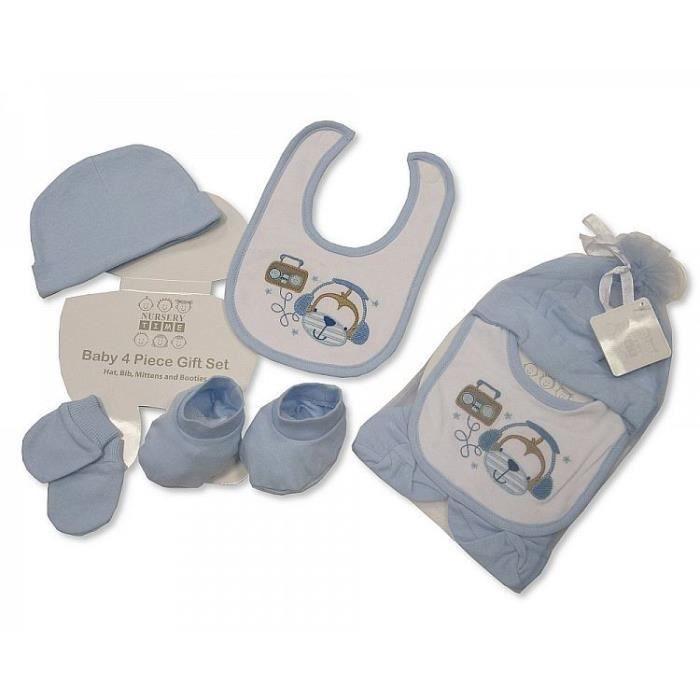 Set naissance bébé garçon bleu bonnet chaussons bavoir moufles ... 2cec1f29212