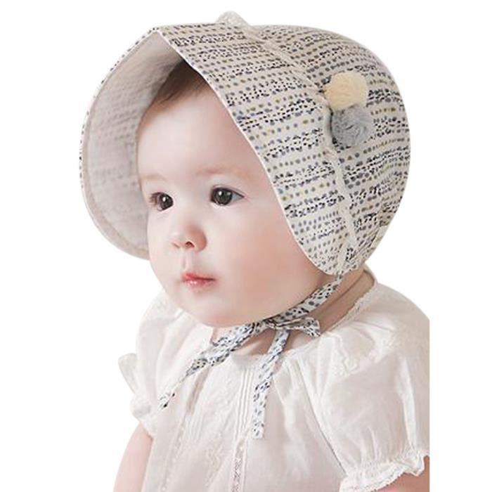 524b89a738b9 Chapeau de Soleil pour Bébé Fille 3-24 mois Ajustable été Anti-Soleil  Protection