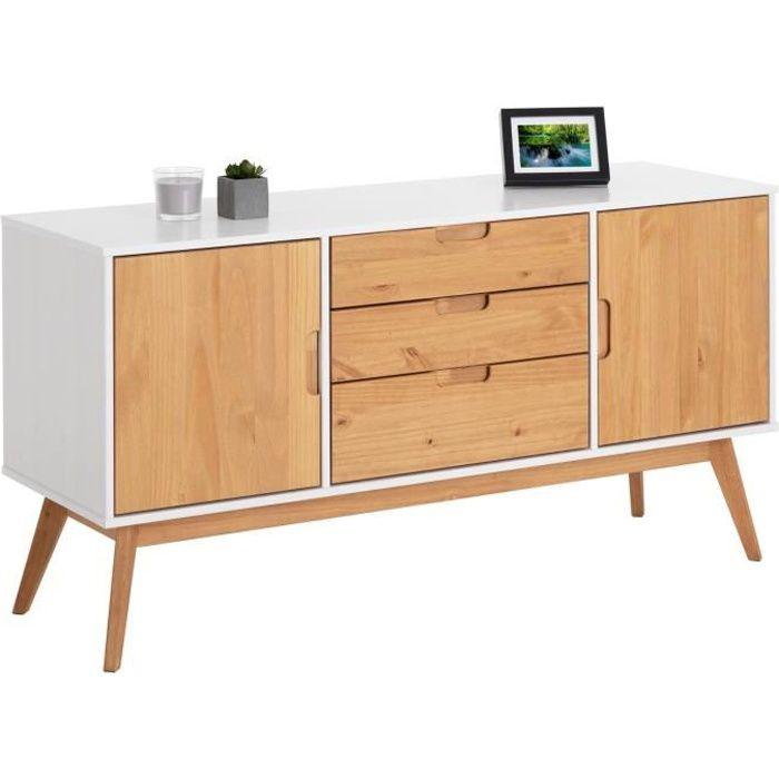 8cd878909903f1 Buffet TIVOLI style scandinave design vintage nordique commode bahut  vaisselier avec 2 portes 3 tiroirs, en pin massif blanc et ciré