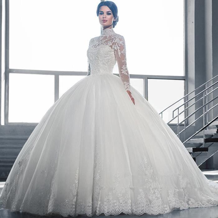 robe de mariage belle blanc robe de bal robe de mari e en dentelle sheer d collet manches. Black Bedroom Furniture Sets. Home Design Ideas