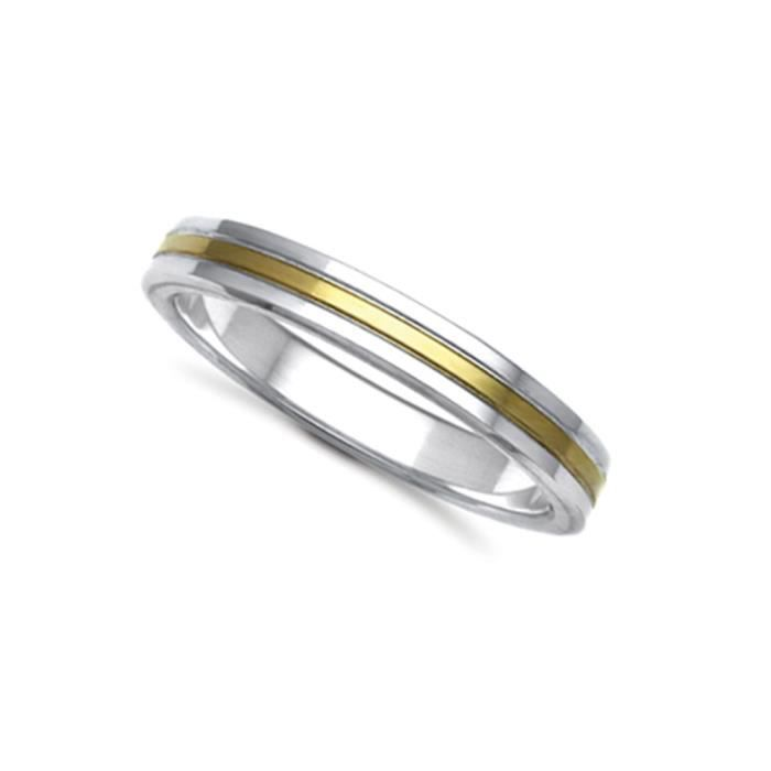 Jewelco London Or 2 couleurs 18k mariage bague 4mm