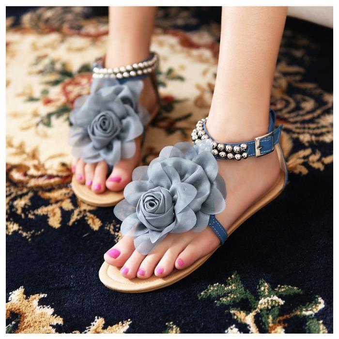 De Trois Bleu Chaussures beige Sandales Orteil Dimensions En Femme Bohême Fleurs rose Plates Vacances t0AqfAUw