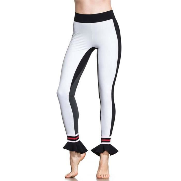5d4fdfefb52de Femmes Nouveau Noir Blanc Patchwork Sport Leggings Aux femmes Haute Taille  Courir Push Up Sport Yoga Pantalon Gym Ruffle Hem