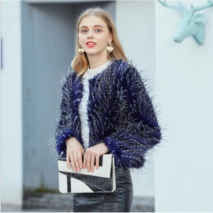 Manteau bleu femme fourrure