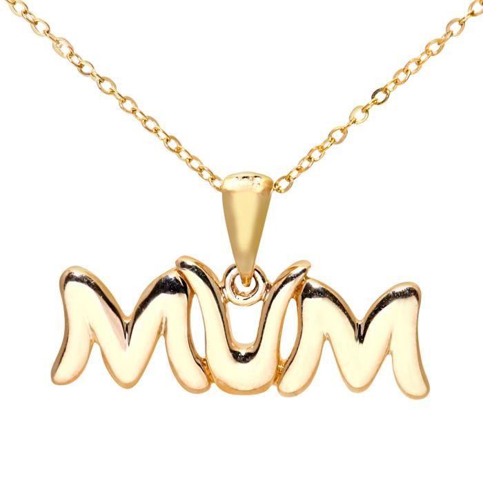 Revoni - Collier pendentif MUM en or jaune 9 carats, chaîne 46 cm - REVCDPP03200Y