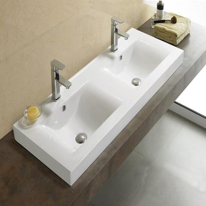 vasque posee Lavabo à Poser Double vasque, 120x46 cm, Céramique, Essentiel