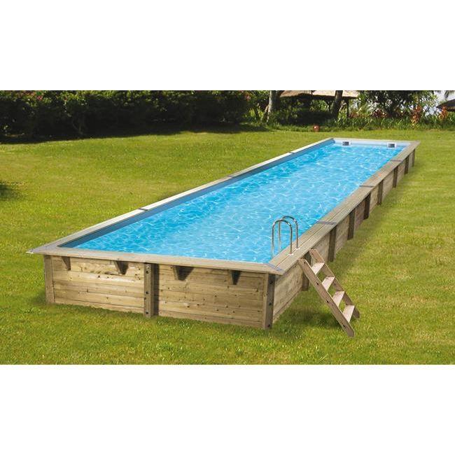 piscine hors sol bois linea 350x1550xh155 beige - Piscine Bois Solde