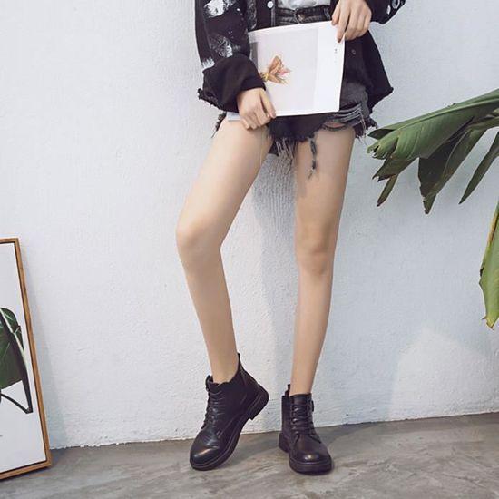 Épais Noir Short Cuir Shoes Martin Toe Bottes Mode Femmes Solide Ronde Wram wUqYRZqPI