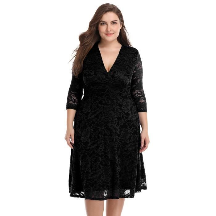 Womens Plus Size Lace Bridal Skater Wedding Party Mother Dress 2FT8KU Taille-40