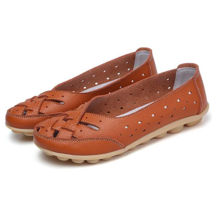 Lady Souples Flats Cheville Femme En Orange Cuir Slipper Casual Chaussures Sandales Txqf4nw66
