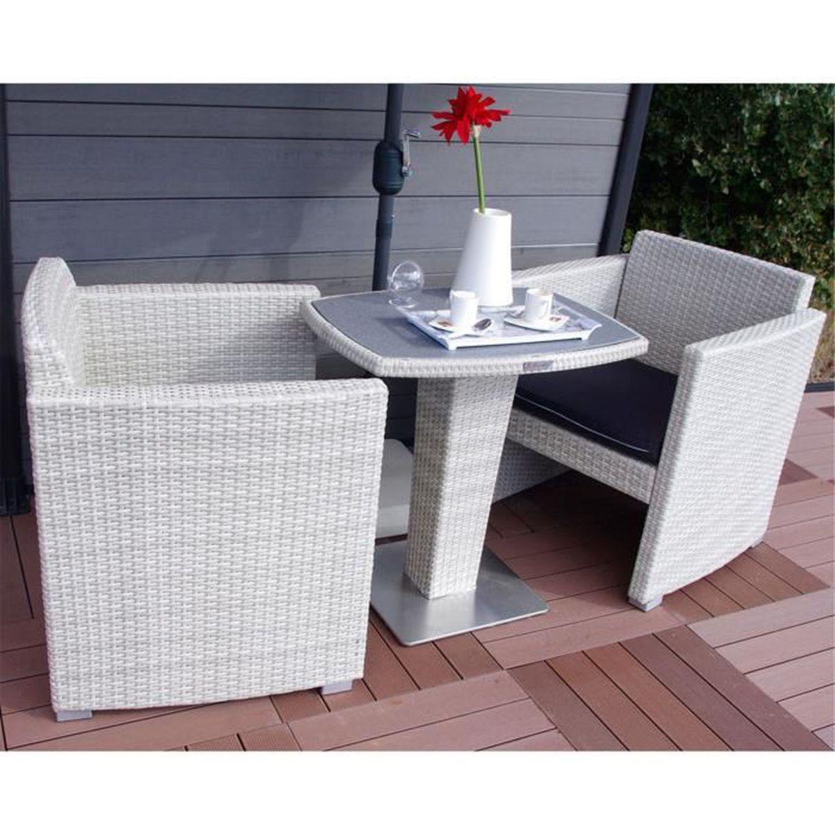 Oceane Salon de jardin blanc et gris effet rotin tressé (2 places ...