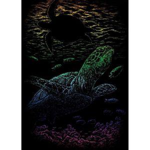 LA FOURMI Carte gratter mini 12,5x17,5cm arc en ciel. Tortue de mer