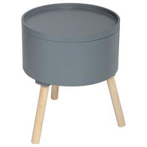 TABLE D'APPOINT Table à café coffre Oshi - Diam. 38 cm - Gris fonc