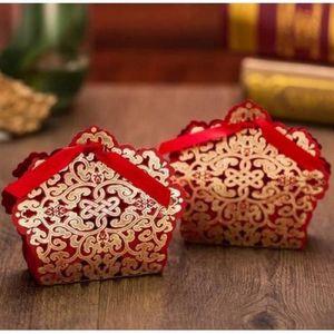 BOÎTE À DRAGÉES 10 boîtes à dragées chic rouge et or