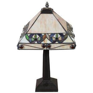 LAMPE A POSER Lampe Tiffany style Art Nouveau en verre et laiton