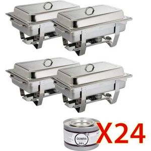 CHAUFFE-PLAT Lots de 4 chafing dish GN1/1 + 24 Gels combustible