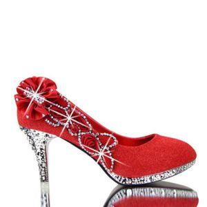 ESCARPIN Chaussures Escarpins Femme Cristal Talon Haut Noeu
