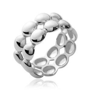 BAGUE - ANNEAU Bague deux anneaux collés femme - argent massif 92