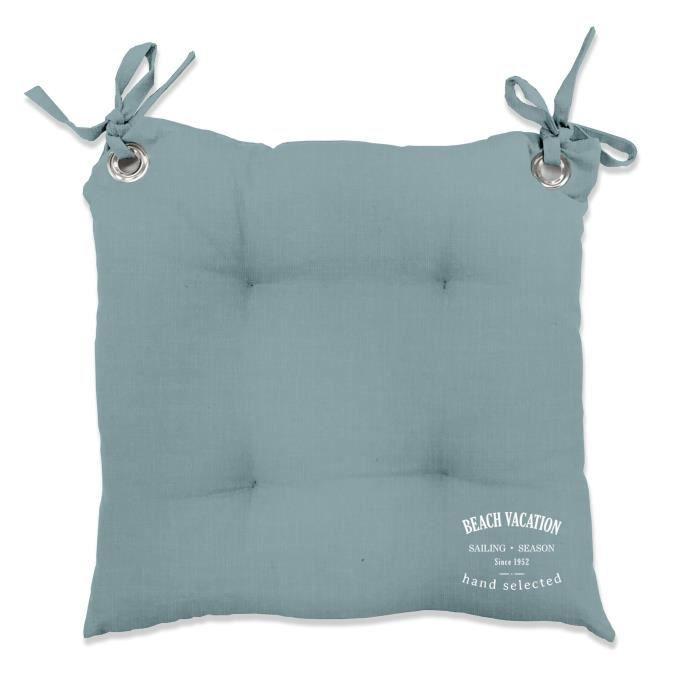 TODAY Galette de chaise matelassée PONTON 40x40 cm vert de gris
