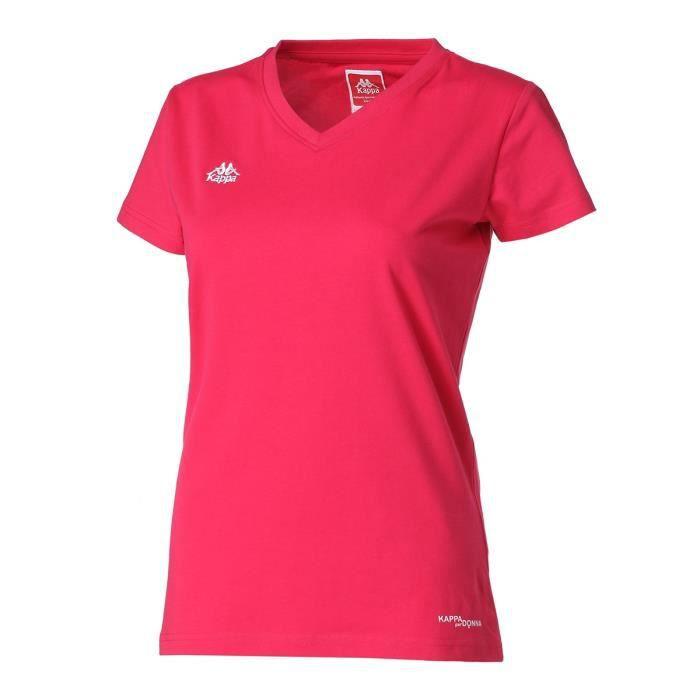 KAPPA T-shirt Manches Courtes - Femme - Fuchsia