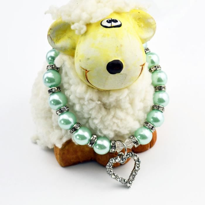 Collier Pour Animaux De Compagnie Crystal Heart Pandant Chat Chien Bling Pearls Jewelry Taille L (bleu)