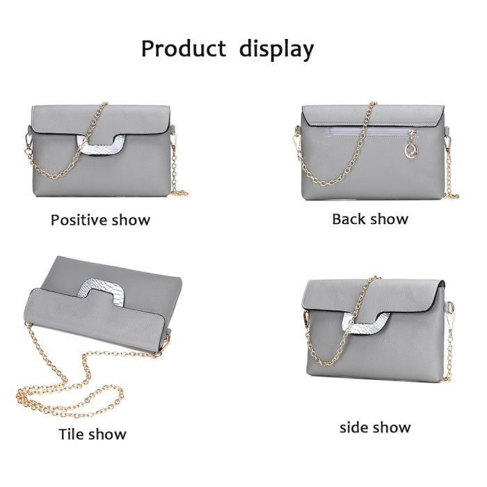 Deessesale®Sac à main épaule Paquet de 6 sacs femmes multi-usages bourse en cuir simili-cuir mode Gris^ZJW11187826