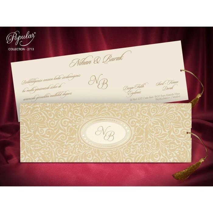 Faire Part Mariage Avec Carte Motif En Velours 10pcs