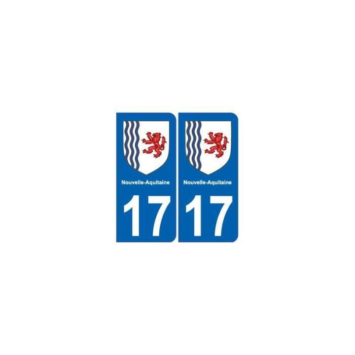 17 Charente-maritime Departement Immatriculation 2 X Autocollants Sticker Auto, Moto – Pièces, Accessoires Automobilia