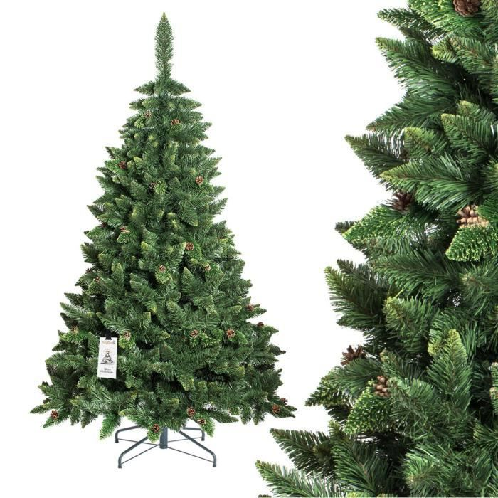 fairytrees arbre sapin artificiel de no l pin naturel vert mati re pvc pommes de pin vraies. Black Bedroom Furniture Sets. Home Design Ideas