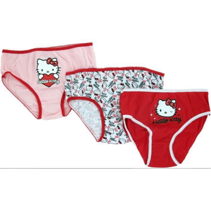 Lot de 3 culottes HELLO KITTY - sous vêtement Rouge - Achat   Vente ... 76830ed10b9