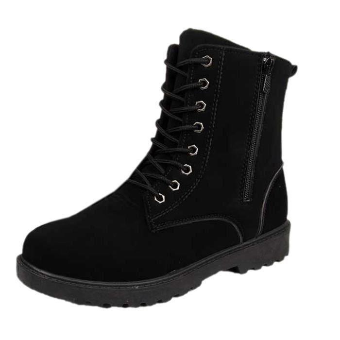 Mode Botte Homme Lacet Boots Velours Bottine PU...