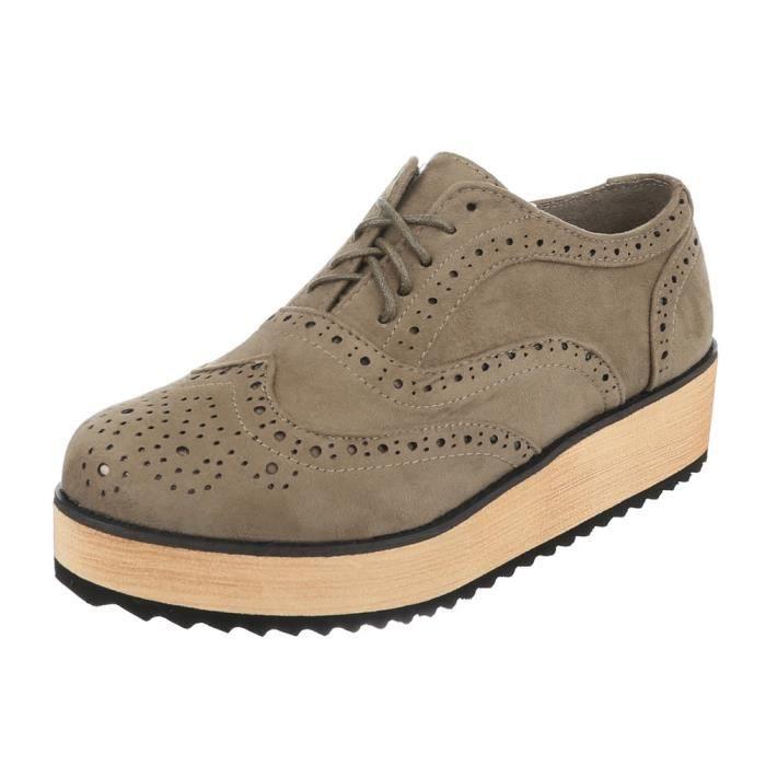 Femme Bottes neurs Fl noir Plateau Kaki Lacet Chaussures 41 Kaki gris HqA1FdaAwx