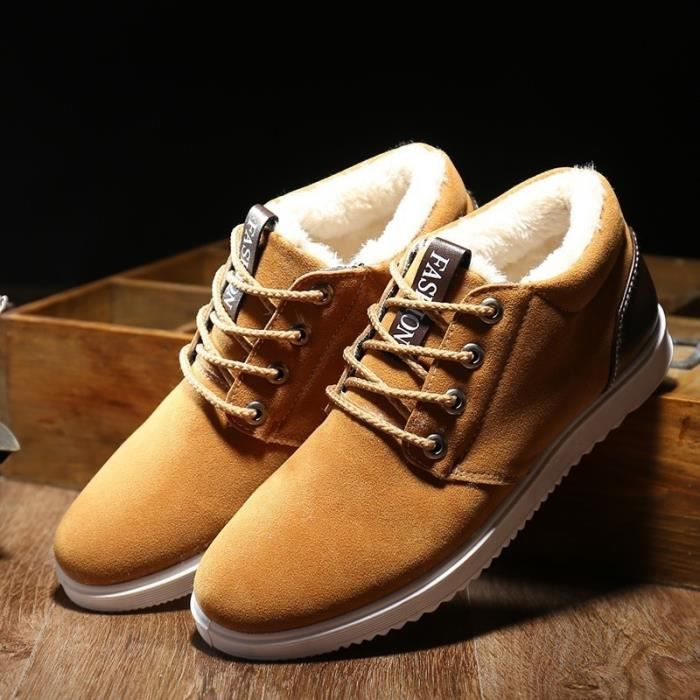 Nouveaux Chaussures Bottes d'homme hiver d'homme en plein air Bottes de neige en coton velours épais Casual Chaussures De Luxe
