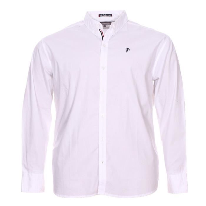 Chemise grande taille Ruckfield manches longues blanc Blanc Blanc ... d8591dd4d19