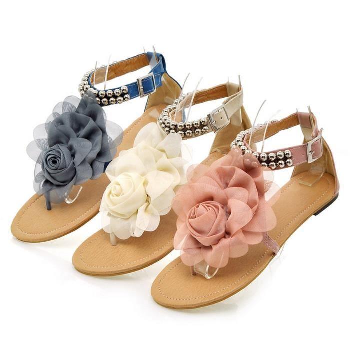 Chaussures Sandales Sandales fleurs de Femme Sandales de plates en Bohême orteil sandales dimensions femme vacances trois Plates 5xwaUqBrx