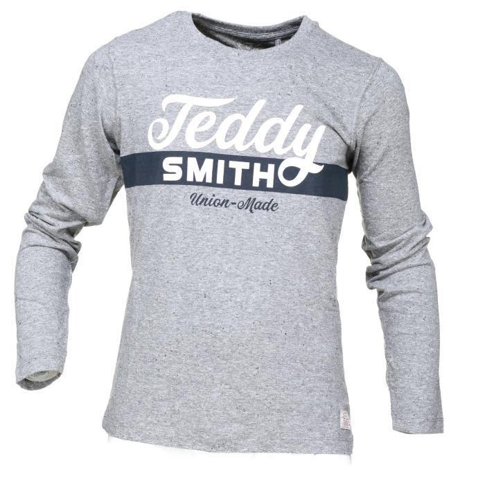 1e3a773b4bf91 Tee Shirt Garçon Teddy Smith Tobin Retro Ml 61... Gris Gris - Achat ...