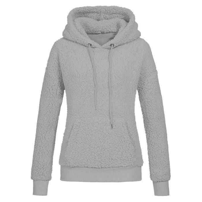 05cd8bf7f7 Femmes Sweat à capuche solides Manteau POCHES laine d'hiver Outwear chaude  Chemisier gris