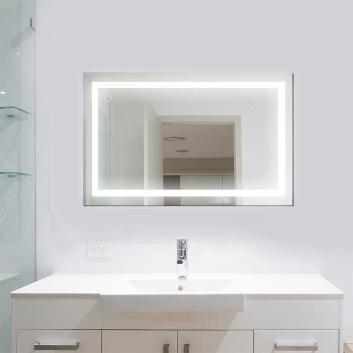 OOBEST Miroir LED Lampe de Miroir Éclairage Salle de Bain Miroir Lumineux  Verre Trempé Design Carré