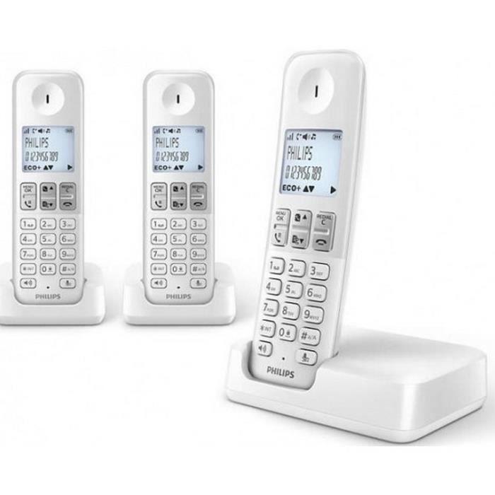 philips t l phone sans fil trio dect blanc d2303w fr achat combin suppl mentaire pas cher. Black Bedroom Furniture Sets. Home Design Ideas