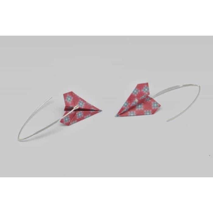 Boucles doreille papier Origami Avion Rouge rosé - The cocotte